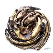 Женский шелковый шарф эко принт