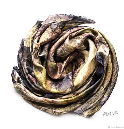 Женский шелковый шарф эко принт ручной работы на заказ