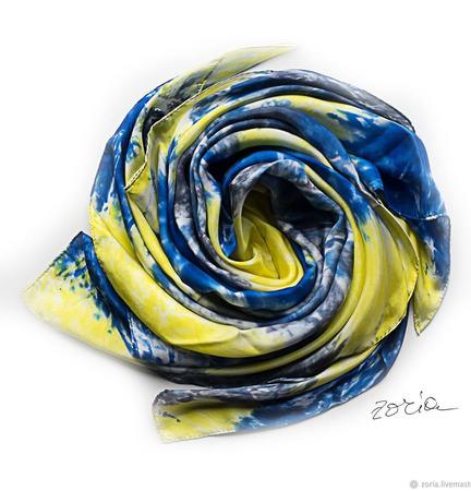 Синий шелковый платок батик ручной работы на заказ