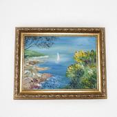 """Картина маслом морской пейзаж """"Парусник в бухте"""""""