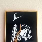 """Интерьерное панно """"Золотой саксофон"""""""