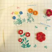 Набор из 5 вязаных открыток с цветами