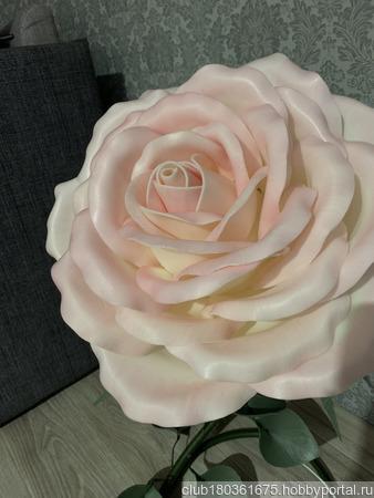 Ростовая белая с розовом розочка-ночник ручной работы на заказ