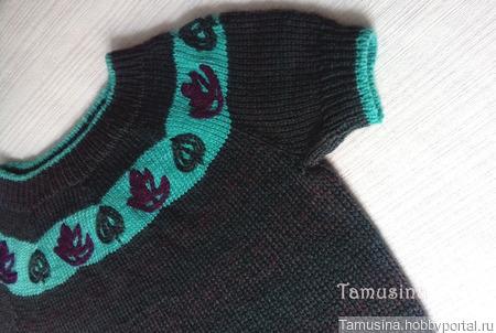 Джемпер с короткими рукавами и вышивкой ручной работы на заказ