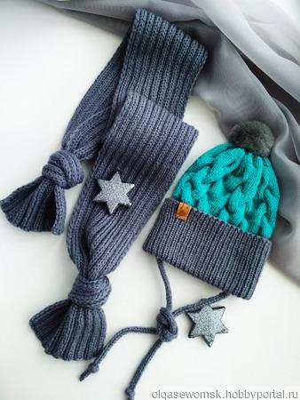Комплект шапка и шарф детский ручной работы на заказ