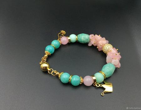 Браслет из розового кварца и амазонита ручной работы на заказ