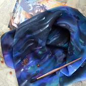 Платок узорный сине-черно-изумрудный