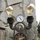 Настольная лампа в стиле Лофт/Стимпанк с часами