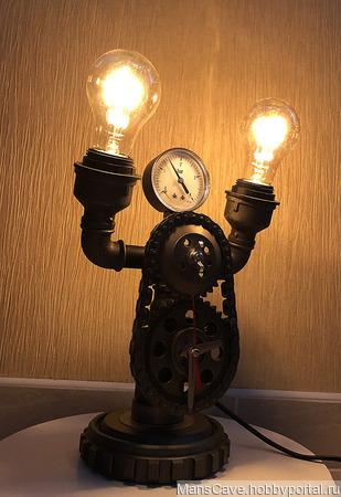 Настольная лампа в стиле Лофт/Стимпанк с часами ручной работы на заказ