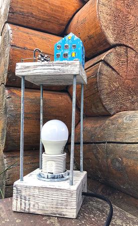 """Настольная лампа """"Заснеженный домик"""" ручной работы на заказ"""