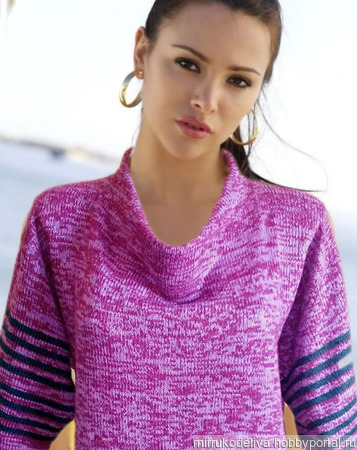 МК спицами: свитер с цельновязаным воротником хомут-стойка спицами ручной работы на заказ