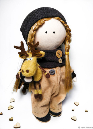 """Текстильная кукла """"Олененок"""" ручной работы на заказ"""