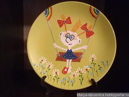 """Тарелка сувенирная """"Крылатые качели"""" ручной работы на заказ"""