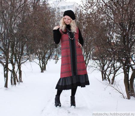 Зимнее платье-сарафан миди ручной работы на заказ