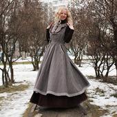 Платье-сарафан в стиле бохо зимнее с подъюбником