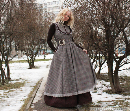 Платье-сарафан в стиле бохо зимнее с подъюбником ручной работы на заказ