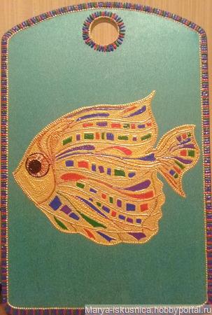 "Доска разделочная ""Золотая рыбка"" ручной работы на заказ"