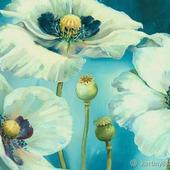 """Картина """"Белые цветы на голубом"""""""