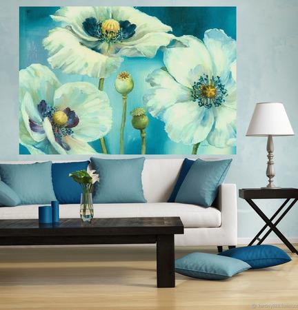 """Картина """"Белые цветы на голубом"""" ручной работы на заказ"""