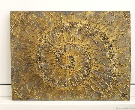 """Картина абстракция """"Золотая спираль"""" ручной работы на заказ"""