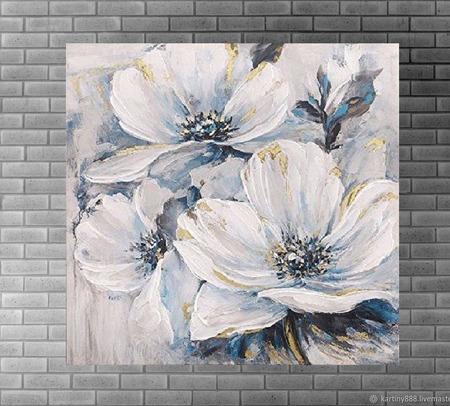 "Картина ""Нежные цветы"" ручной работы на заказ"