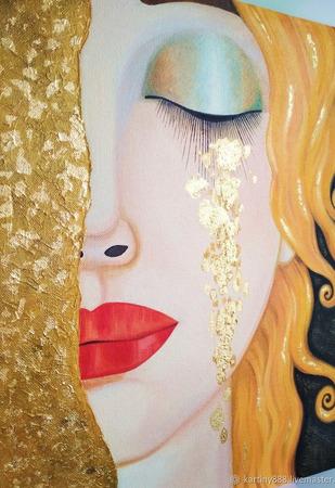 """Картина маслом """"Golden tears"""" ручной работы на заказ"""