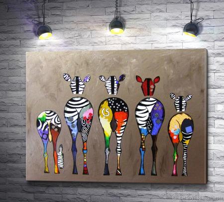 "Картина ""Цветные зебры"" ручной работы на заказ"