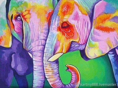 """Картина """"Цветные слоны"""" ручной работы на заказ"""