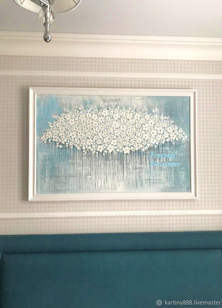 """Картина в спальню """"Белые цветы"""" ручной работы на заказ"""