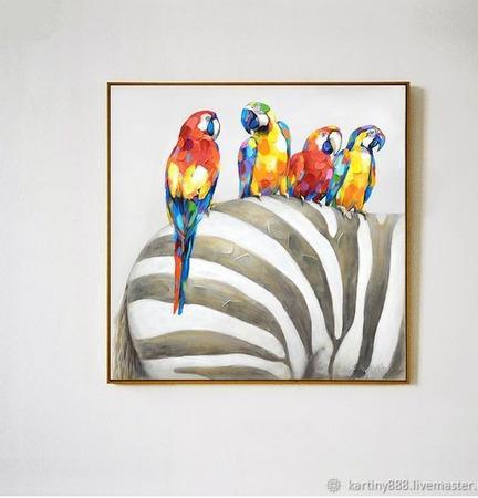 """Картина """"Попугаи и зебра"""" ручной работы на заказ"""