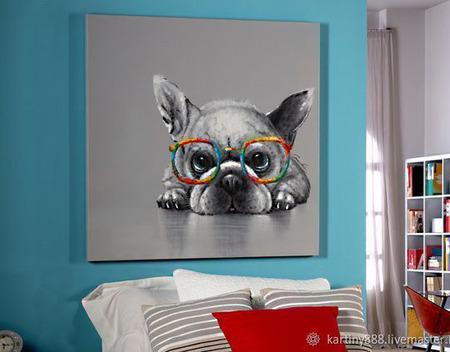 """Картина с собакой """"Я тебя вижу"""" ручной работы на заказ"""