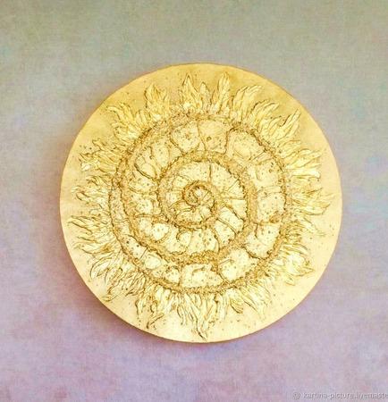 """Картина-оберег для дома """"Золотая Спираль"""" ручной работы на заказ"""