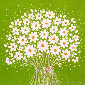 Картина с цветами Ромашки на зеленом, подарок маме, девушке, женщине