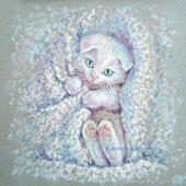 Картина с белым котенком Зайка в детскую, миниатюра