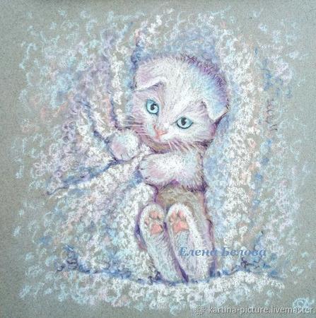 """Картина с белым котенком """"Зайка"""" в детскую ручной работы на заказ"""
