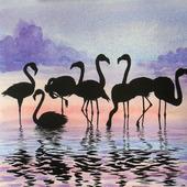 Картина Фламинго акварель сиреневый