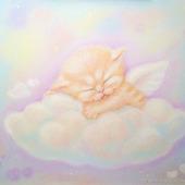 Картины: Картина Нежные сны в детскую котенок ангел