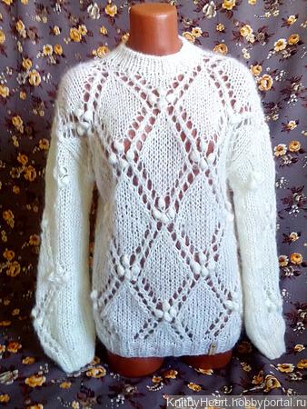 Белый ажурный свитер с ромбами ручной работы на заказ
