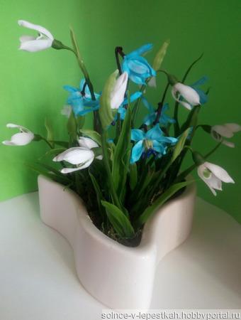 Весенние цветы в кактуснике ручной работы на заказ