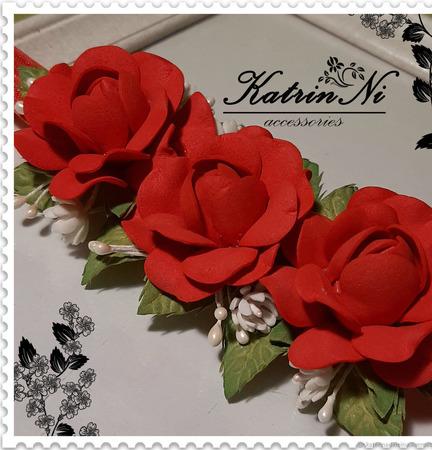 Повязочка c розами ручной работы на заказ