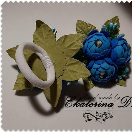 Резиночки в голубых тонах ручной работы на заказ
