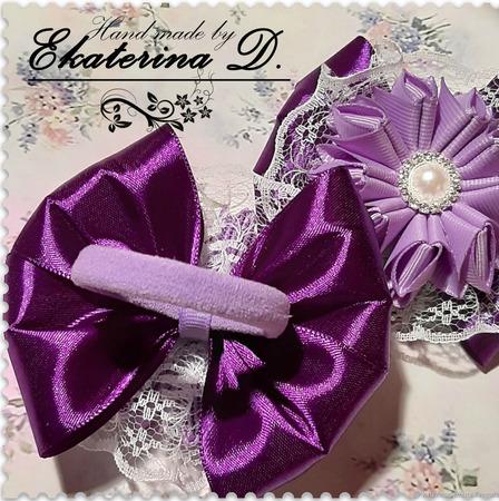 Резинки сиреневые с фиолетовым ручной работы на заказ