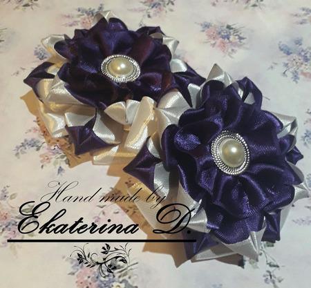 """Резинки """"Фиолетовый цветок"""" ручной работы на заказ"""