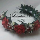 """Ободок """"Красные розы"""""""