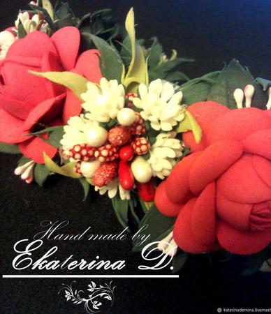 """Ободок """"Красные розы"""" ручной работы на заказ"""