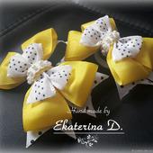 Бантики желтые в горох