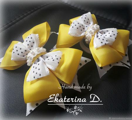 Бантики желтые в горох ручной работы на заказ