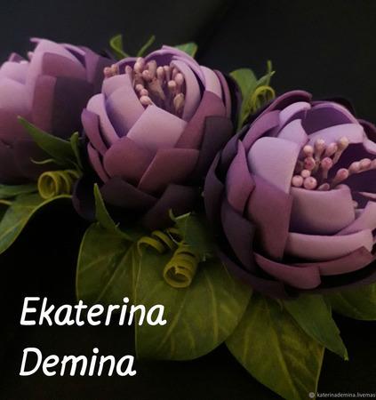 "Заколка"" Сиреневые цветы"" ручной работы на заказ"