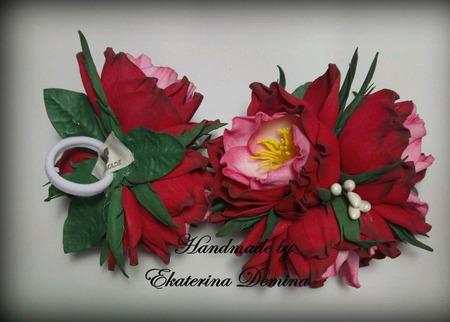 """Резинки """"Красные цветы"""" ручной работы на заказ"""