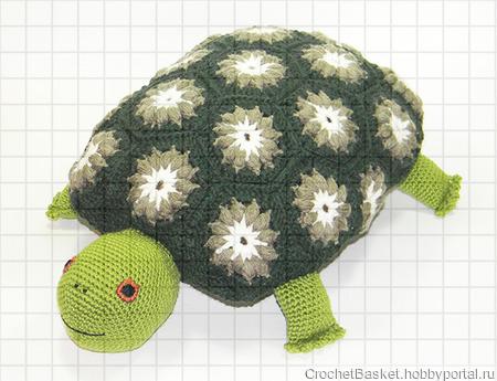Вязаная подушка-игрушка «Черепаха» ручной работы на заказ